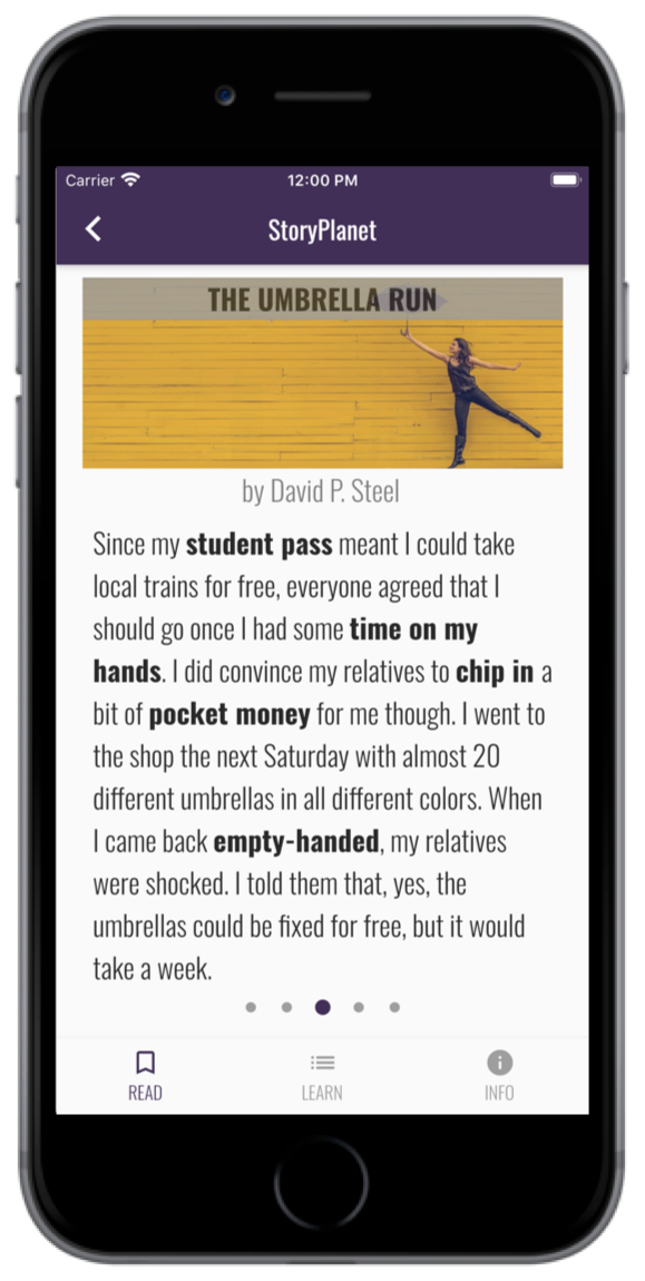 StoryPlanet English app reading mode