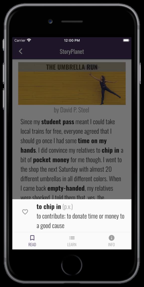 App StoryPlanet English Wörter nachschlagen